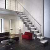 Les doubles escaliers de plaques en acier ont feuilleté la construction résidentielle d'escalier de semelle en verre Tempered