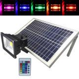 La iluminación exterior LED RGB con foco Solar Panel Solar