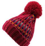 Chapeau épais fluorescent au néon unisexe de Beanies chauds de l'hiver tricoté par POM du chapeau POM de bille du Mens des femmes (HW115)
