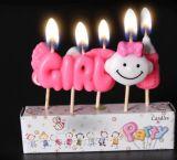 La sonrisa de dibujos animados se enfrentan a vela de cumpleaños por parte de Decoración Temas