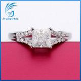 De vierkante Prinses sneed 2 Karaat 7.5X7.5mm Witte Zilveren Ringen van de Diamant Moissanite