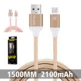 2.1A trenzado Nylon Teléfono móvil de alta velocidad Cable USB para Andriod