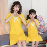 Короткие рукава Родительский-дочерний ночь платье с кружевом
