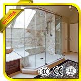L'intérieur en verre dépoli Salle de bains coulissantes en verre avec charnière de porte
