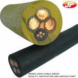 Экранированные обшитые резиной подвижные и гибкие силовые кабели шахты
