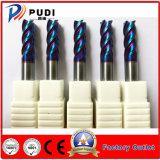 4 flautas HRC<65 Carboneto sólido de ferramentas de corte plana om o revestimento Naco-Blue