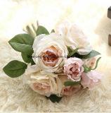 Palais de luxe Style 5 chefs/Bouquet de fleurs en soie artificielle rose decoration de mariage bouquet de rose crème artificielle