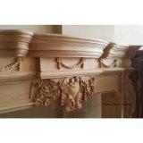 Cuore maestoso e mensola del camino di legno PT8016 del camino intagliata foglio