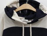 Vestiti maschii incappucciati popolari di svago del pullover a strisce posteriore e bianco