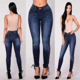 Baumwollspandex-dünner Frauen-Jean-Dame-Jeans-Oberseite-Entwurf