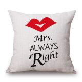 デジタルによって印刷される夫人Always Right氏Rightの装飾的なクッションカバー(35C0255)