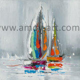 Hechos a mano arte de pared estilo nórdico Barco de vela y pinturas al óleo