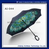 Gwp 선전용 선물 C 모양 손잡이 수동 반전 똑바른 차 우산