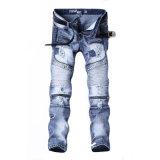 Stock de mode personnalisé le commerce de gros 100% coton bleu Men's Skinny denim jeans déchirés
