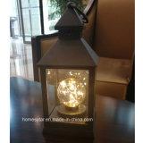 LEIDENE Lantaarn met de Ronde Lamp van de Kaars voor de Ornamenten van de Decoratie en van de Tuin van het Huis