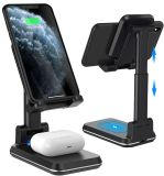 Draadloze oplader, 2 in 1 dubbele draadloze oplader, instelbare telefoonhouder voor bureau, 10 W Qi Fast Charger, compatibel met iPhone 11/PRO/XS/Max/xr/X/8/8p Samsun