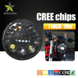 試供品のオフロードオートバイのためのハイ・ロービームDRL 7インチ円形LEDのヘッドライト12V 24VのジープのラングラーLEDヘッドライト
