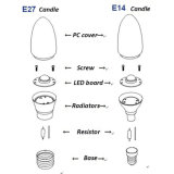 De LEIDENE van de LEIDENE Verlichting C37 E14/E27 van de Bol Lamp 3000K van de Kaars