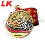 デザイン多彩なリボンが付いているカスタムエナメルの金属メダルを放しなさい
