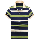 Os homens de moda com listra da camisa de manga curta Casual camisa Polo