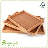 Bandeja de madera con asas de bambú rectángulo de la placa de té de la bandeja de comida