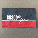 Custom 5*8.2cm de alta densidad de fondo de sarga Etiquetas ropa etiquetas tejidas
