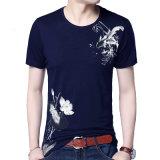 Impresso para homens e mangas curtas gola redonda Slim Fit T Shirt Casual