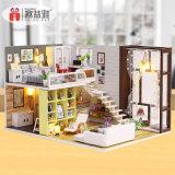 Juguete de madera casa de muñecas con muebles+