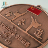 Настройки питания логотип сплава литой металлический Taekwondo медали с лентой