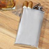 Frasco de acero inoxidable de 18-8 con la caja de cigarro incorporada, frasco de múltiples funciones de 4 onzas
