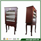 Pied permanent de l'armoire à cigares en bois avec porte de verre