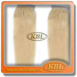 Fermeture blonde indienne d'armure de cheveu ondulé de Remy de Vierge