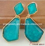 Gema geométricas azul Bisutería pendientes accesorio de moda disfraces de ornamentos de Pendientes Pendientes Ecológico (PE-043)