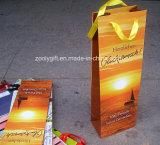 Bolsa de papel modificada para requisitos particulares del regalo de la botella de vino