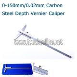 깊이는 0-150mm/0.02mm 탄소 강철 버니어 캘리퍼스를 측정한다