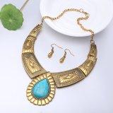 Ювелирные изделия устанавливают ретро бронзовое ожерелье Calaite и утрированную серьгами конструкцию для женщин