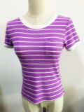 Roupa de moda feminina Stripe Thermal Short Sleeve Plain Tee Shirt