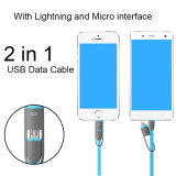 2 in 1 het Laden van de Kabel van Gegevens Hangende Blauwe Lijn voor Androïde & iPhone