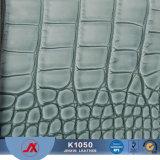 Couro claro elevado do PVC da fábrica do couro artificial do PVC da pele do crocodilo
