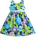 Robe de filles ceinture bleue fleur parti d'impression Kids taille Sundress 2-10