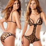 Ropa interior atractiva de la venta del leopardo de la ropa interior encantadora caliente del diseño para las mujeres