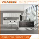 Gabinete de cozinha da madeira contínua da mobília da cozinha do estilo da porta do abanador