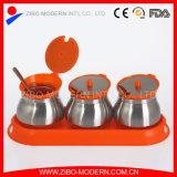 Einfacher Reinigungs-Großhandelsspeicher-Glasglas mit Löffel und Tellersegment