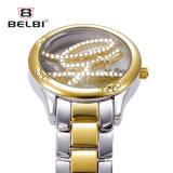 Montre inférieure en verre de quartz de boucle de bijou de diamant de cavité de montre de dames de mode de Belbi
