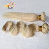 工場価格の薄い色の毛の拡張を編むカンボジアのRemyの毛