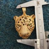 Collier pendant Mjhp042 de la CZ de léopard fait sur commande simple d'or