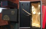 صنع وفقا لطلب الزّبون علامة تجاريّة طباعة خمر ورقة صندوق من الورق المقوّى مع مقبض