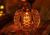 Tarro de la vela del vidrio cristalino del hexágono
