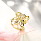 De goud Geplateerde Kunstmatige Juwelen van de Ring van de Vlinder van het Zirkoon