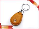 Trousseau de clés promotionnel en cuir de boucle principale de cuir de chaîne principale de logo